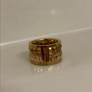 Michael Kors Rose Gold Barrel Ring with Stones